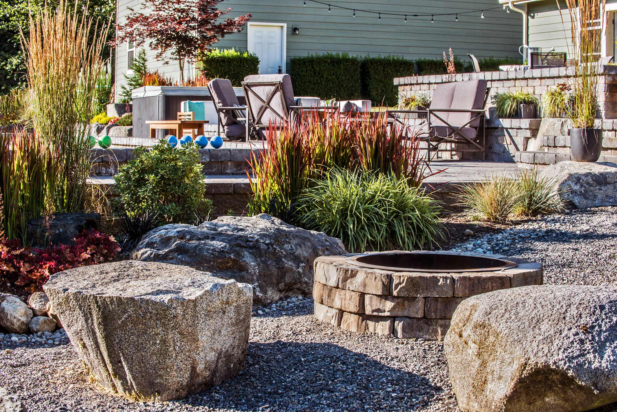 Rock garden and softscaping in Olympia