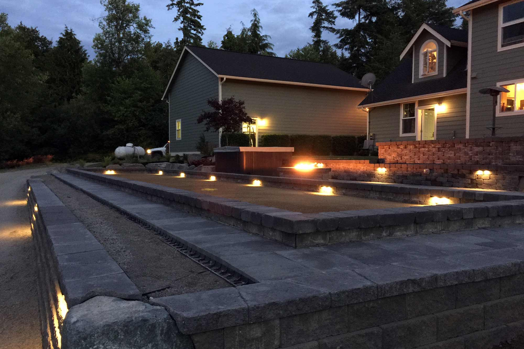 Olympia bocce ball court with night lighting