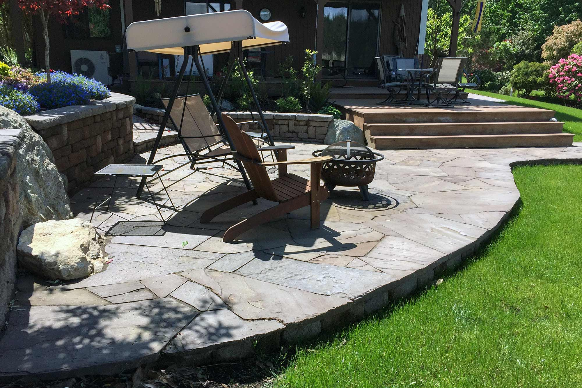 lavender flagstone raised patio