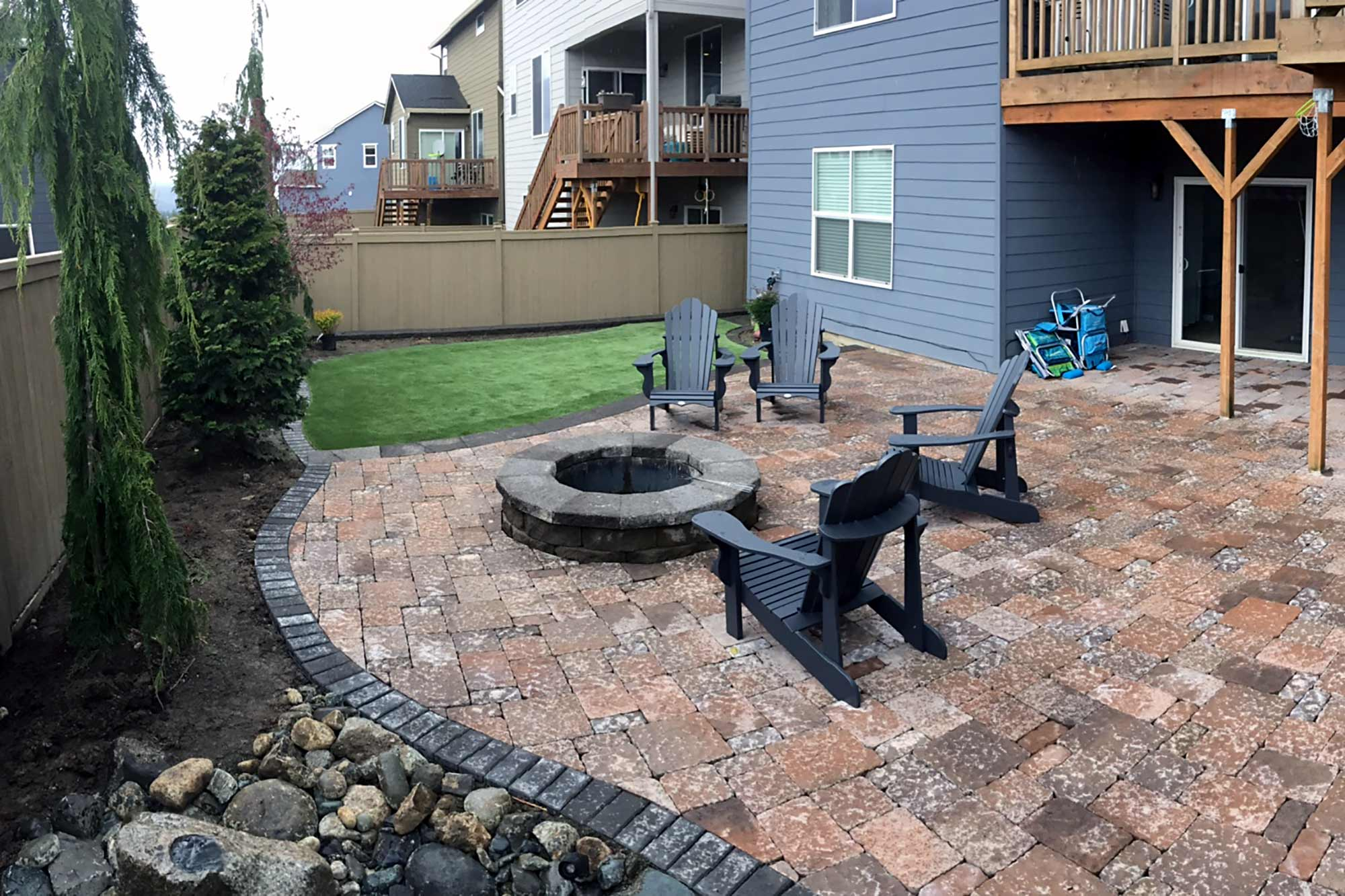 completed raised patio, artificial turf