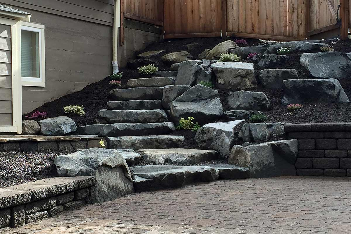 Rockery with natural stone stairway