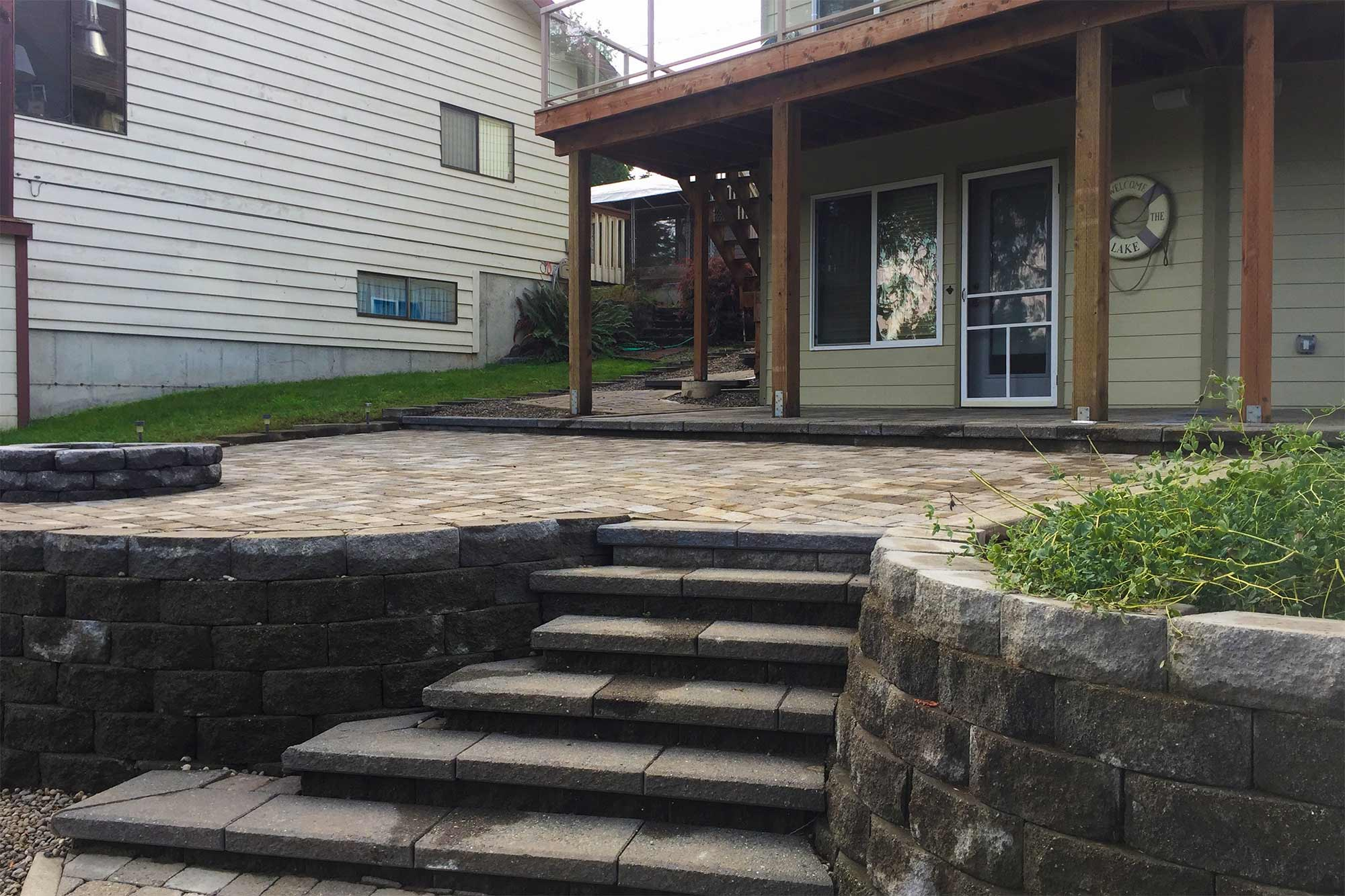 Paver patio, stairs and retaining wall
